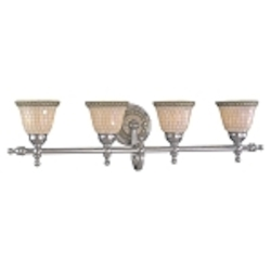 "Piastrella Collection 4-Light 34"" Chrome Bath Vanity Fixture with Mosaic Tile Glass 6054-77"