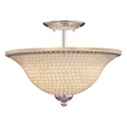 "Piastrella Collection 3-Light 16"" Chrome Semi-Flush with Mosaic Tile Glass 6057-77"