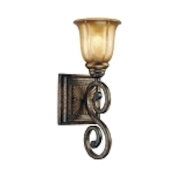"Bromption Collection 1-Light 15"" Bromption Bronze Wall Sconce with Dover Mist Glass 6331-561"