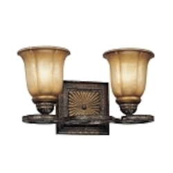 "Bromption Collection 2-Light 13"" Bromption Bronze Bath Vanity Fixture with Dover Mist Glass 6332-561"