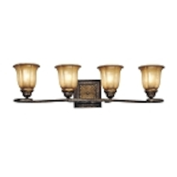 "Bromption Collection 4-Light 29"" Bromption Bronze Bath Vanity Fixture with Dover Mist Glass 6334-561"