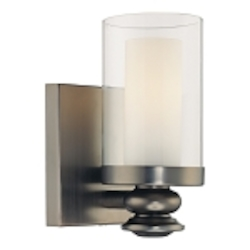 "Harvard Ct. Collection 1-Light 6"" Harvard Ct. Bronze Wall Sconce with Clear and Etched Opal Glass 6360-281"