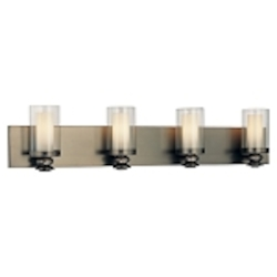 "Harvard Ct. Collection 4-Light 32"" Harvard Ct. Bronze Bath Vanity Fixture with Clear and Etched Opal Glass 6364-281"
