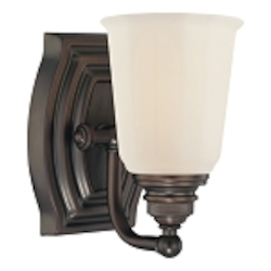 "Clairemont Collection 1-Light 7"" Dark Brushed Bronze Bath Vanity Fixture with Etched Opal Glass 6451-267"