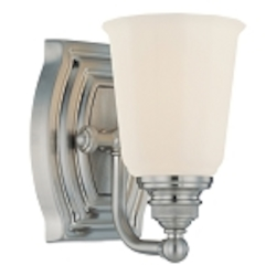 "Clairemont Collection 1-Light 7"" Brushed Nickel Bath Vanity Fixture with Etched Opal Glass 6451-84"