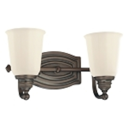 "Clairemont Collection 2-Light 13"" Dark Brushed Bronze Bath Vanity Fixture with Etched Opal Glass 6452-267"