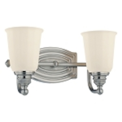 "Clairemont Collection 2-Light 13"" Brushed Nickel Bath Vanity Fixture with Etched Opal Glass 6452-84"