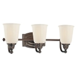 "Clairemont Collection 3-Light 19"" Dark Brushed Bronze Bath Vanity Fixture with Etched Opal Glass 6453-267"