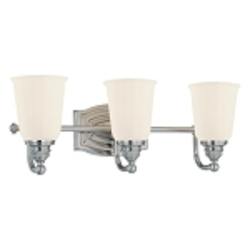 "Clairemont Collection 3-Light 19"" Brushed Nickel Bath Vanity Fixture with Etched Opal Glass 6453-84"