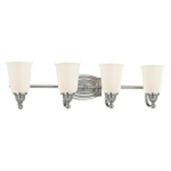 "Clairemont Collection 4-Light 26"" Brushed Nickel Bath Vanity Fixture with Etched Opal Glass 6454-84"
