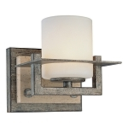 "Compositions Collection 1-Light 5"" Aged Patina Iron Wall Sconce with Travertine Stone and Etched Opal Glass 6461-273"