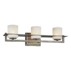 "Compositions Collection 3-Light 20"" Aged Patina Iron Bath Vanity Fixture with Travertine Stone and Etched Opal Glass 6463-273"