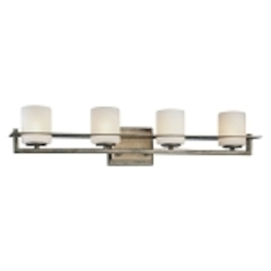 "Compositions Collection 4-Light 27"" Aged Patina Iron Bath Vanity fixture with Travertine Stone and Etched Opal Glass 6464-273"
