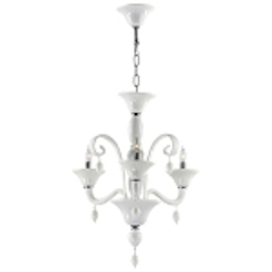 "Treviso 3-Light 26"" White Murano Style Glass Chandelier with Chrome Accents 6496-3-14"