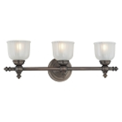"Fordyce Collection 3-Light 21"" Dark Brushed Bronze Bath Vanity Fixture with Clear Etched Glass 6533-267"