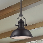 "Chadwick Collection 1-Light 14"" Industrial Oiled Bronze Pendant 66134-1"
