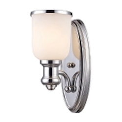 "Brooksdale Collection 1-Light 13"" Polished Chrome Wall Sconce with White Glass 66150-1"