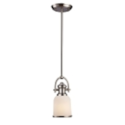 "Brooksdale Collection 1-Light 11"" Satin Nickel Mini Pendant with White Glass 66161-1"