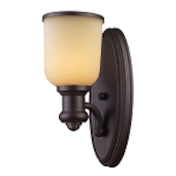 "Brooksdale Collection 1-Light 13"" Oiled Bronze Wall Sconce with Amber Glass 66170-1"