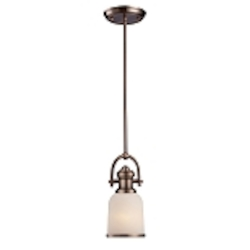 "Brooksdale Collection 1-Light 11"" Antique Copper Mini Pendant with White Glass 66181-1"