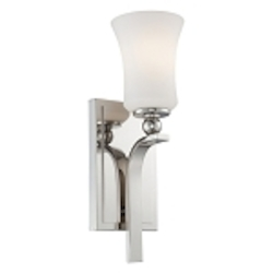 "Ameswood Collection 1-Light 14"" Polished Nickel Wall Sconce with Etched Opal Glass Shade 6621-613"