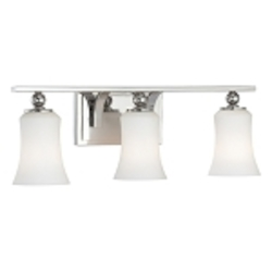 "Ameswood Collection 3-Light 22"" Polished Nickel Bath Vanity Fixture with Etched Opal Glass Shade 6623-613"