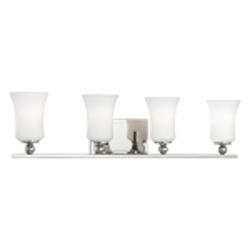 "Ameswood Collection 4-Light 31"" Polished Nickel Bath Vanity Fixture with Etched Opal Glass Shade 6624-613"