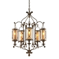 "St. Moritz Collection 5-Light 36"" Moritz Bronze Wrought Iron Chandelier with Tea Stain Glass 67-05"