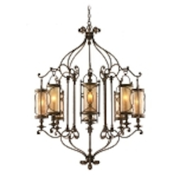 "St. Moritz Collection 8-Light 47"" Moritz Bronze Wrought Iron Chandelier with Tea Stain Glass 67-08"