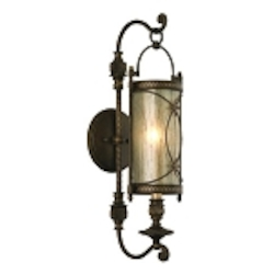 "St. Moritz Collection 1-Light 29"" Moritz Bronze Wrought Iron Wall Sconce with Tea Stain Glass 67-11"