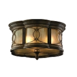 "St. Moritz Collection 3-Light 16"" Moritz Bronze Wrought Iron Flush Mount with Tea Stain Glass 67-33"