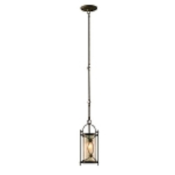 "St. Moritz Collection 1-Light 6"" Moritz Bronze Wrought Iron Mini Pendant with Tea Stain Glass 67-41"