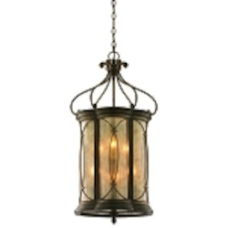 "St. Moritz Collection 6-Light 35"" Moritz Bronze Wrought Iron Foyer Pendant with Tea Stain Glass 67-46"
