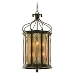 "St. Moritz Collection 8-Light 42"" Moritz Bronze Wrought Iron Foyer Pendant with Tea Stain Glass 67-48"