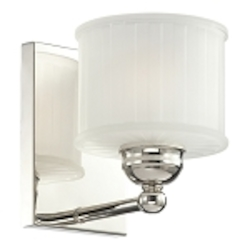 "1730 Series Collection 1-Light 7"" Polished Nickel Wall Light with Etched Glass Shade 6731-1-613"