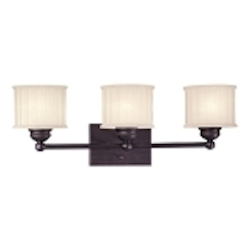 "1730 Series Collection 3-Light 23"" Lathan Bronze Bath Vanity Fixture with Etched Glass-Box Pleat 6733-167"