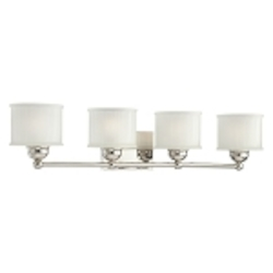 "1730 Series Collection 4-Light 32"" Polished Nickel Bath Vanity Fixture with Etched Glass Shade 6734-1-613"