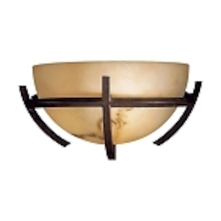 "Calavera Collection 1-Light 12"" Nutmeg Wall Sconce with Alabaster Dust Shades 680-14"
