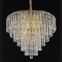 Waterfall Design 6-Light Gold or Chrome Chandelier Dressed with European or Swarovski Crystals SKU# 10505