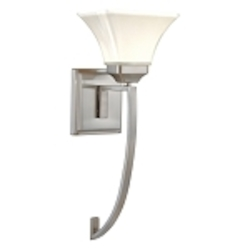 "Agilis Collection 1-Light 20"" Brushed Nickel Wall Sconce with Lamina Blanca Glass 6810-84"