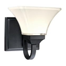 "Agilis Collection 1-Light 8"" Black Wall Sconce with Lamina Blanca Glass 6811-66"