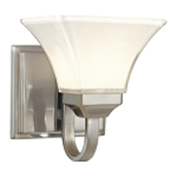 "Agilis Collection 1-Light 8"" Brushed Nickel Wall Sconce with Lamina Blanca Glass 6811-84"