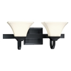 "Agilis Collection 2-Light 21"" Black Wall Sconce with Lamina Blanca Glass 6812-66"
