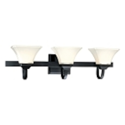 "Agilis Collection 3-Light 32"" Black Bath Vanity Fixture with Lamina Blanca Glass 6813-66"