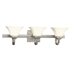 "Agilis Collection 3-Light 32"" Brushed Nickel Bath Vanity Fixture with Lamina Blanca Glass 6813-84"