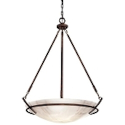 "Calavera Collection 5-Light 39"" Nutmeg Pendant with Alabaster Dust Shades 684-14"