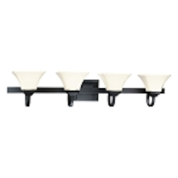 "Agilis Collection 4-Light 43"" Black Bath Vanity Fixture with Lamina Blanca Glass 6814-66"