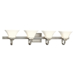 "Agilis Collection 4-Light 43"" Brushed Nickel Bath Vanity Fixture with Lamina Blanca Glass 6814-84"