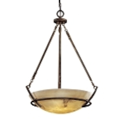 "Calavera Collection 3-Light 31"" Nutmeg Pendant with Alabaster Dust Shades 682-14"