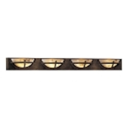 "Calavera Collection 4-Light 51"" Nutmeg Bath Vanity Fixture with Alabaster Dust Shades 6824-14"